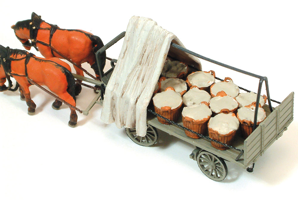 馬に牽かれる野菜かごを乗せた平台荷馬車 :プライザー 塗装済完成品 HO(1/87) 30449