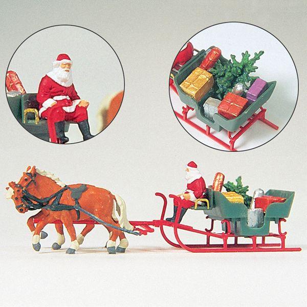 馬の牽くソリに乗ったサンタクロース :プライザー 塗装済完成品 HO(1/87) 30448