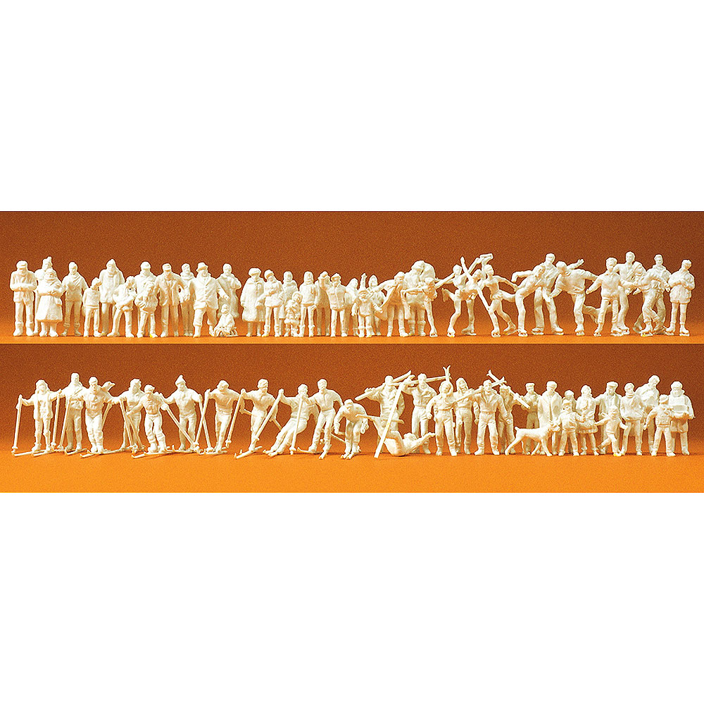 冬の人々 65体セット(スキーヤー、スケーター) :プライザー 未塗装キット HO(1/87) 16347