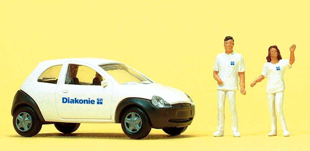 社会福祉サービス職員 自動車付き :プライザー 塗装済完成品 HO(1/87) 33245