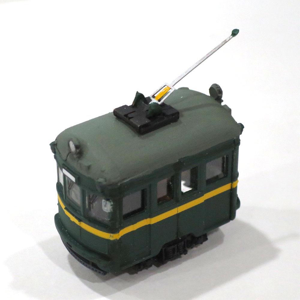 電池内蔵自走式 ミニミニトレイン <緑・黄帯> ポール仕様 :石川宜明 塗装済完成品 N(1/150)