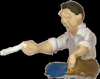 さかつう人形シリーズまなべコレクション 煎餅屋のおやじ :さかつう 塗装済完成品 HO(1/87) 7503