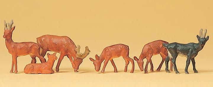 小鹿(シャモア)6頭 :プライザー 塗装済完成品 HO(1/87) 14178