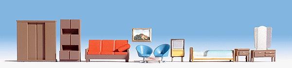 家具セット(ベット、ソファー、クローゼット、鏡台など) :ノッホ 塗装済完成品 HO(1/87) 14832