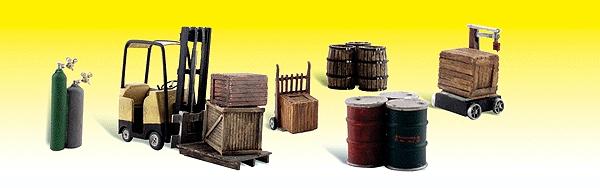 荷揚げドックの小物(フォークリフト、ドラム缶、樽、木箱、ガスボンベ) :ウッドランド 塗装済完成品 N(1/160) 2208