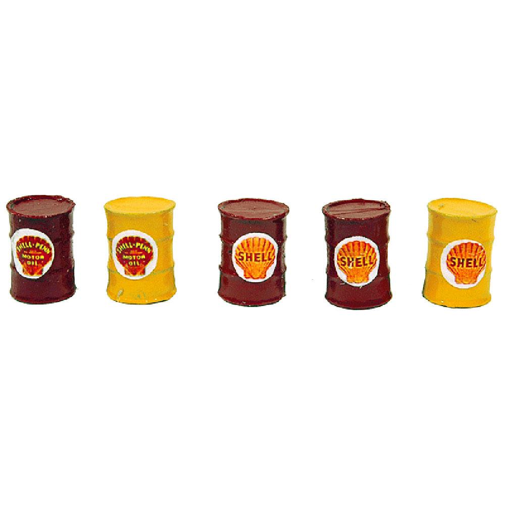 ドラム缶5本セット(シェルカラー) :JLイノベーティブデザイン 塗装済み完成品 HO(1/87) 564