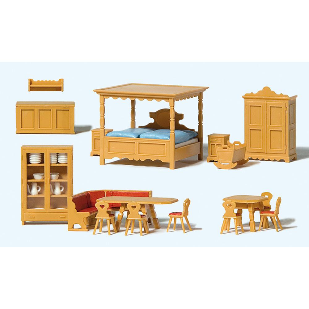 田舎の家の家具セット(リビング、ダイニング、寝室) :プライザー 塗装済完成品 HO(1/87) 17710