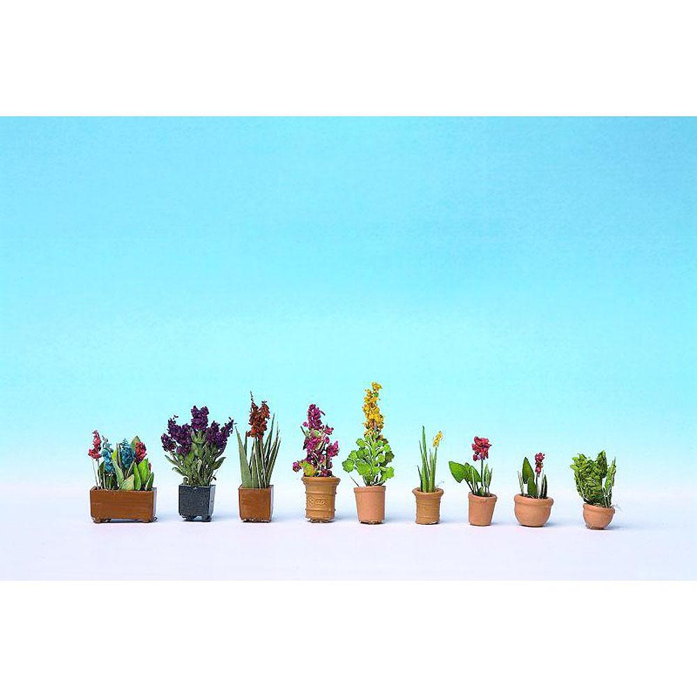 花の鉢植え 9鉢セット :ノッホ 塗装済み完成品 HO(1/87) 14012