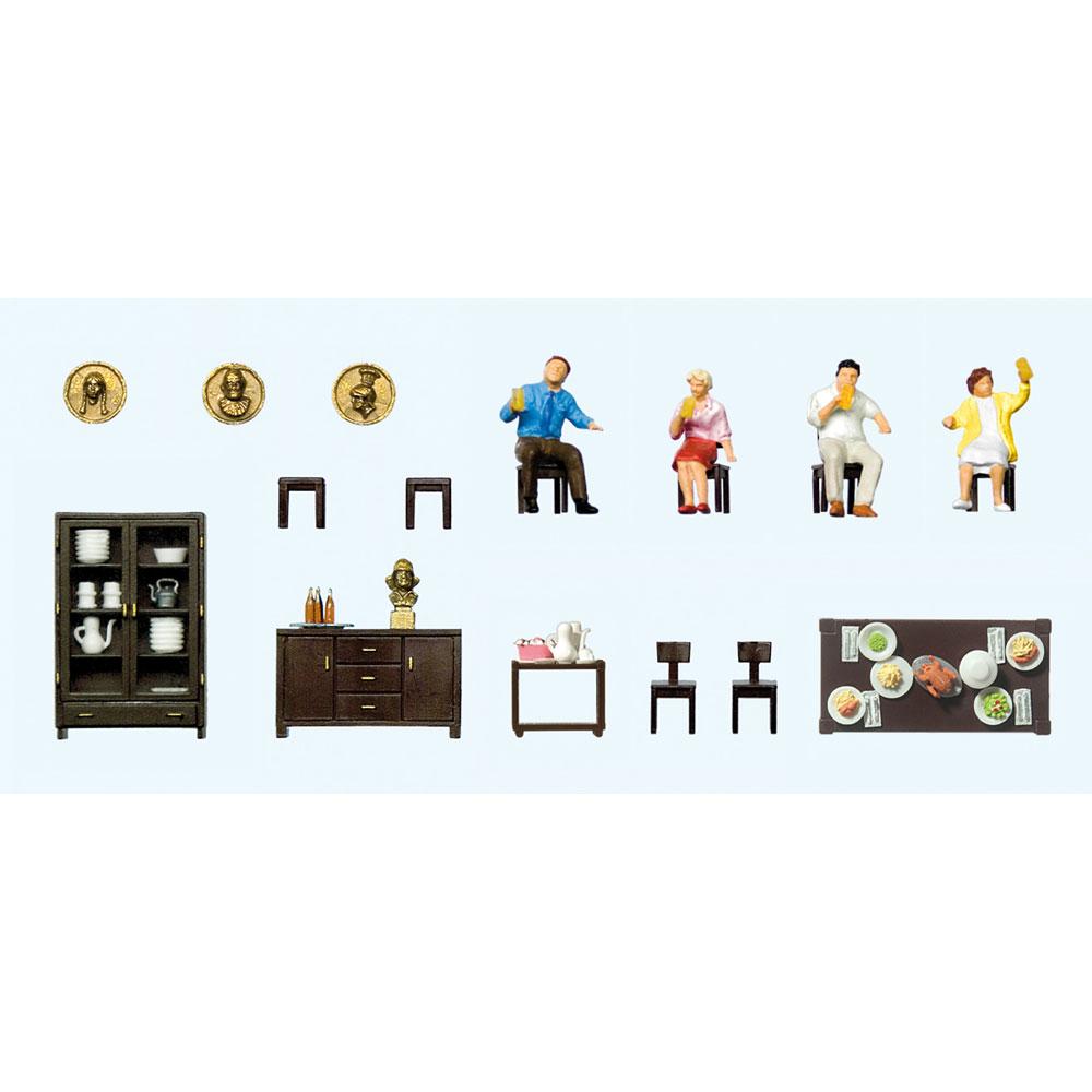【模型】 ダイニングルーム家具セット 昼食をとる人たち :プライザー 塗装済完成品 HO(1/87) 10657