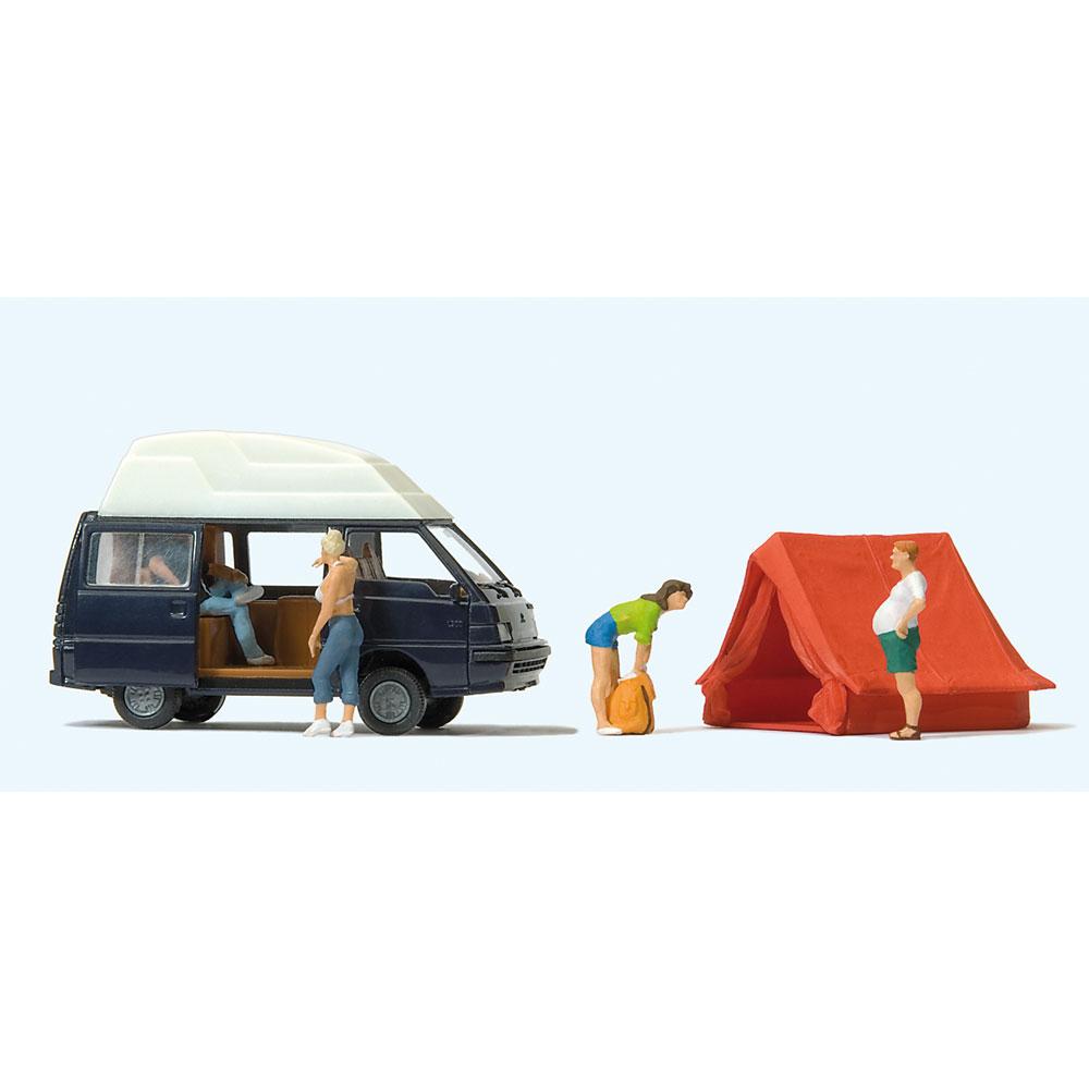 キャンプする人たち、ワゴン車(三菱デリカL300)、テントセット :プライザー 塗装済完成品 HO(1/87) 33258