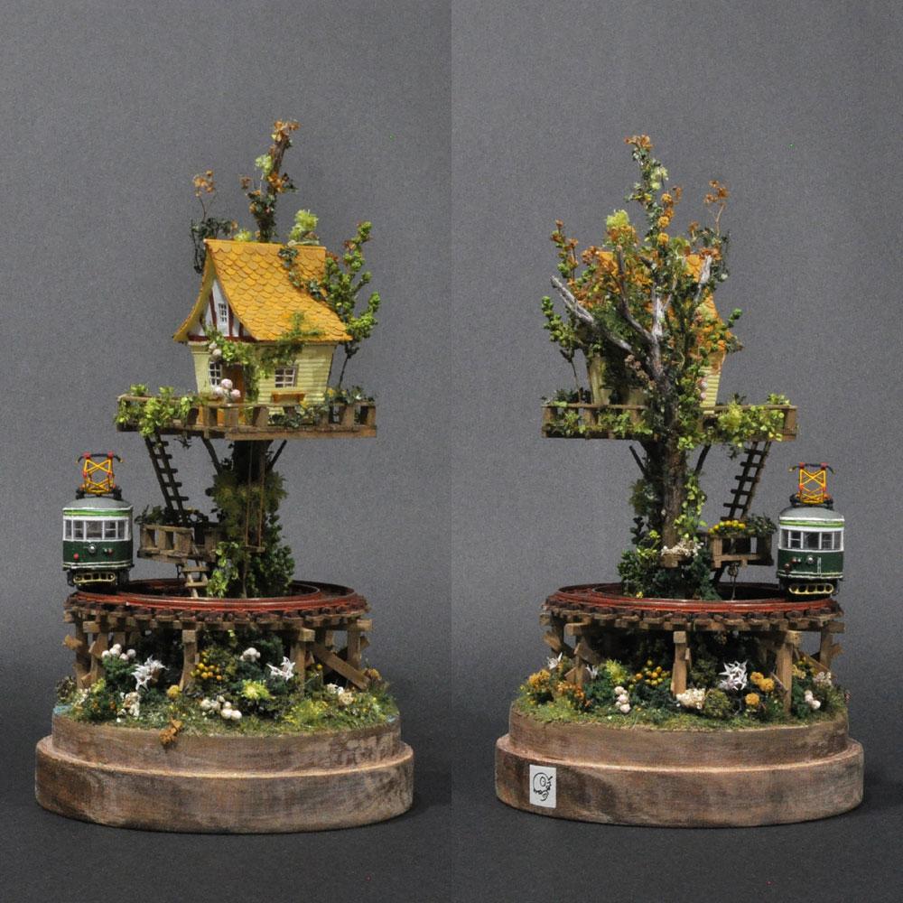 ツリーハウスライン#3 「緑の電車と黄色いツリーハウス」 :石川宜明 塗装済完成品 1/150サイズ