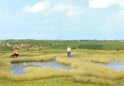【芝生フィルム】 沼地の草むら(水面付き) :ブッシュ 素材 HO(1/87) 1312