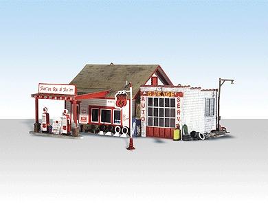ガソリンスタンド、修理所 :ウッドランド 塗装済完成品 N(1/160) 4922