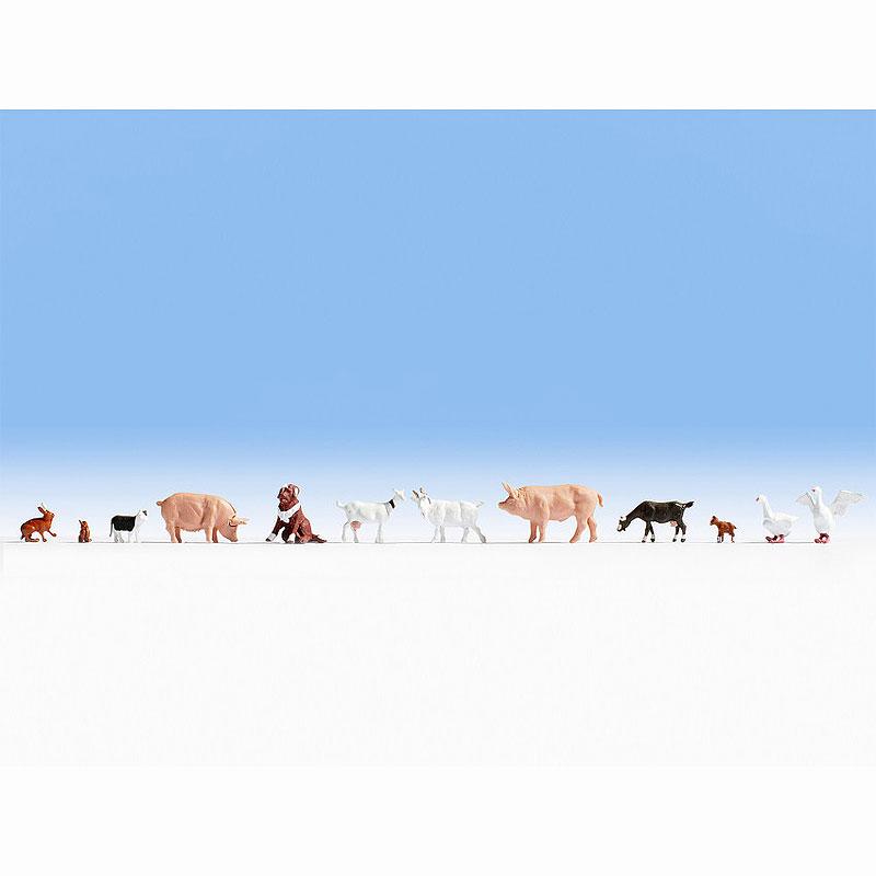 牧場の動物たち(犬、猫、アヒル、うさぎ、山羊、豚など家畜) :ノッホ 塗装済完成品 HO(1/87) 15711