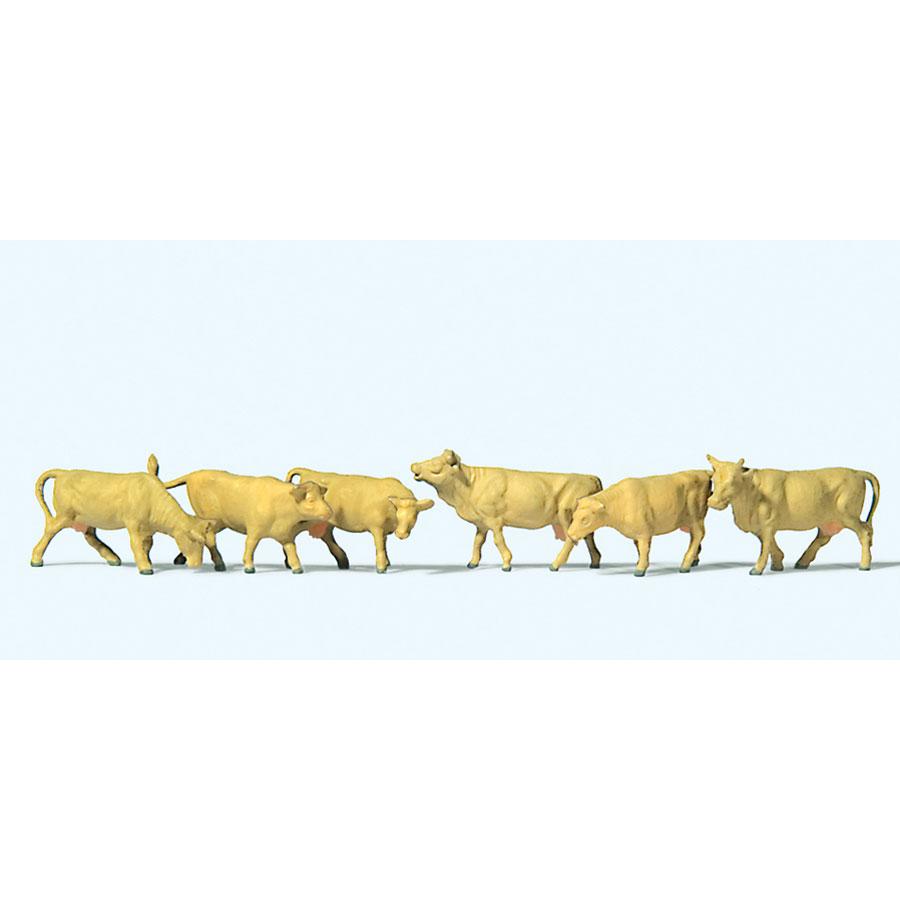 牛(茶 ジャージー種) 6頭 :プライザー 塗装済完成品 N(1/160) 79229