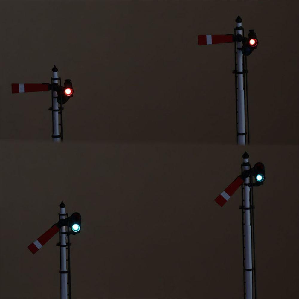 1/80 <点灯・可動式> 腕木信号機 「出発信号機 」主本線・副本線セット :工房ナナロクニ 塗装済完成品 1/80(HO) 1074