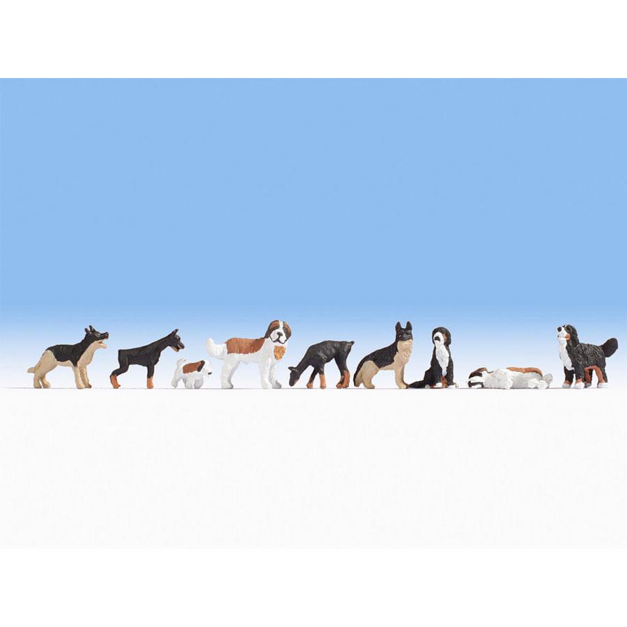 犬 9匹 :ノッホ 塗装済完成品 HO(1/87) 15717