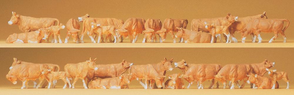 牛(茶ジャージー種)30頭 :プライザー 塗装済完成品 HO(1/87) 14409