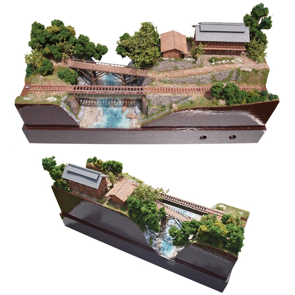養蚕農家と渓流と地方鉄道 :山尾比呂士 塗装済完成品 1/150サイズ