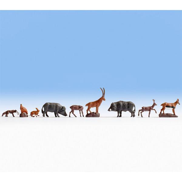 森の動物たち9匹セット(鹿、野うさぎ、イノシシなど) :ノッホ 塗装済完成品 N(1/160) 36745