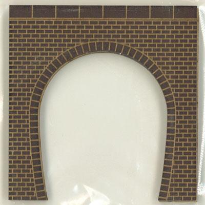 トンネルポータル レンガ 単線 茶色 目地白 2枚入り :ポポプロ 塗装済完成品 N(1/150) MS-001SA