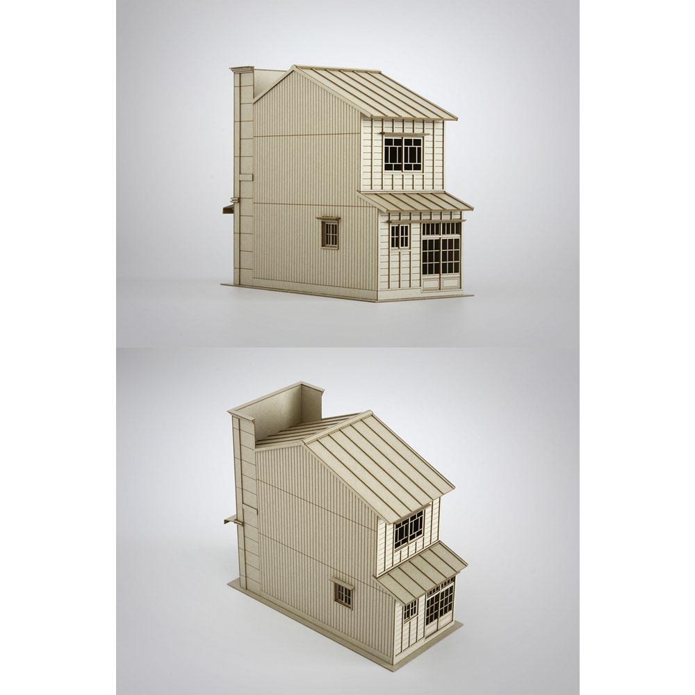 3軒続きの看板建築A :梅桜堂 HO(1/80) 未塗装キット ST-003-80U