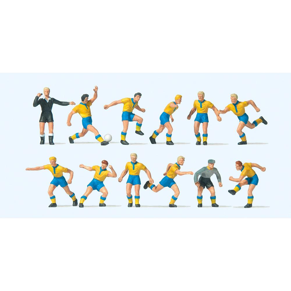 サッカーチームと審判(黄シャツ、青パンツ) :プライザー 塗装済完成品 HO(1/87) 10755