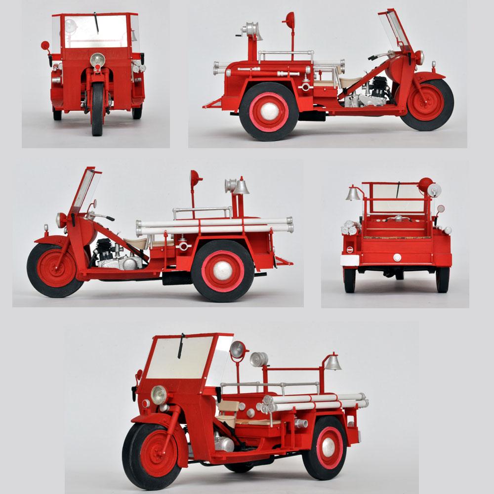 1952年式 みずしまTM4E型 オート三輪 消防車仕様 :田村ゆたか 塗装済完成品 1/12