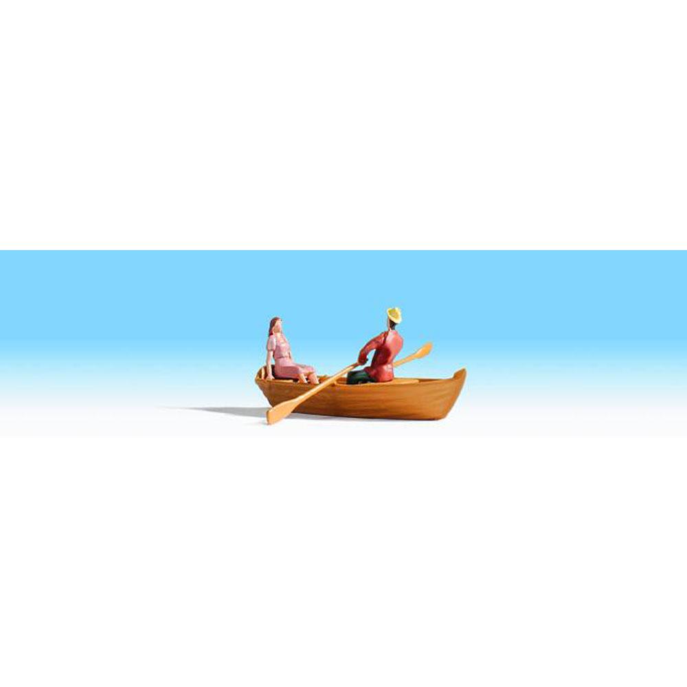 手漕ぎボートに乗る人 :ノッホ 塗装済完成品 HO(1/87) 16800