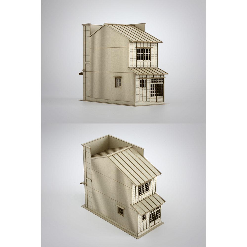 3軒続きの看板建築B :梅桜堂 HO(1/80) 未塗装キット ST-004-80U