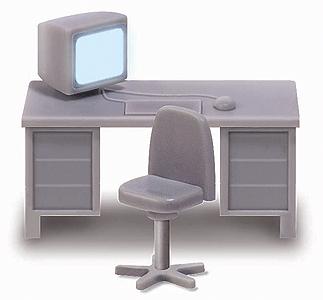 オフィス机&イス4脚セット(2脚LEDセット済み) :ブッシュ 完成品 HO(1/87) 5402