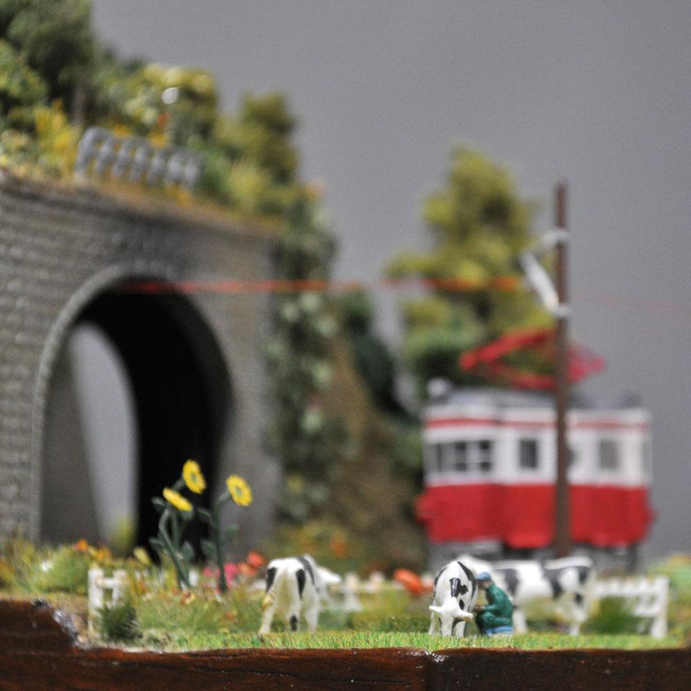 ミニミニレイアウト#2 「田舎駅と牧場」 :石川宜明 塗装済完成品 1/150サイズ