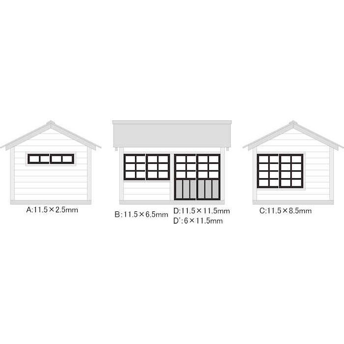 建物用 窓・扉セット 木製・A〜D :アルモデル 未塗装キット N(1/150) A5004
