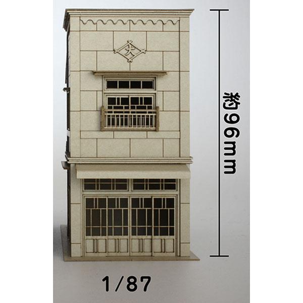 3軒続きの看板建築B :梅桜堂 HO(1/87) 未塗装キット ST-004-87U