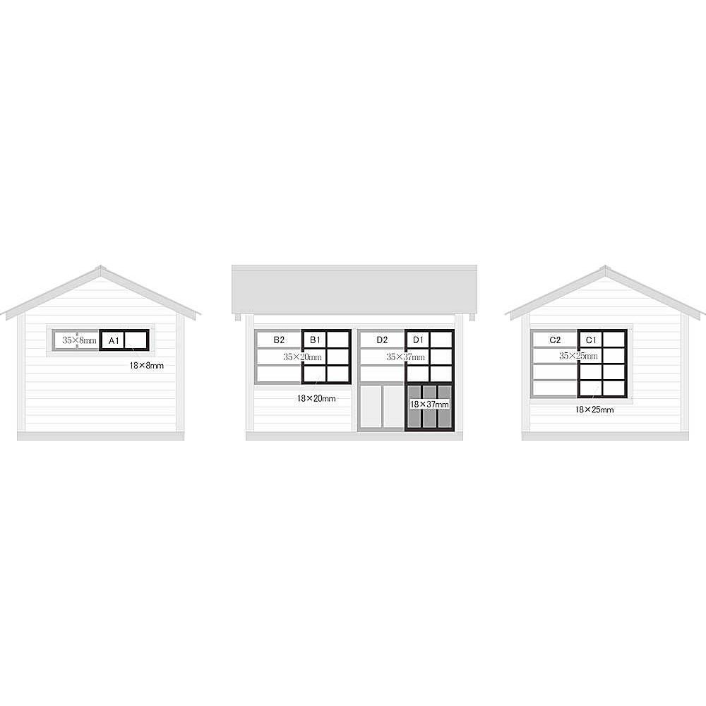 建物用 窓・扉セット 木製・A〜D :アルモデル 未塗装キット O(1/48) D5007