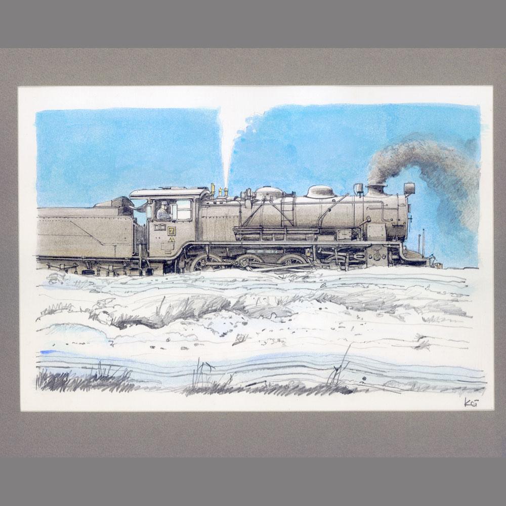 原画「美唄炭鉱鉄道7号機 昭和41年」 :西村慶明 イラスト作品