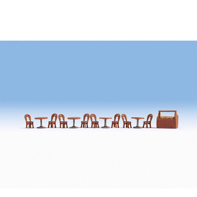 カフェテリア小物セット(イス、テーブル) :ノッホ 塗装済完成品 HO(1/87) 14824