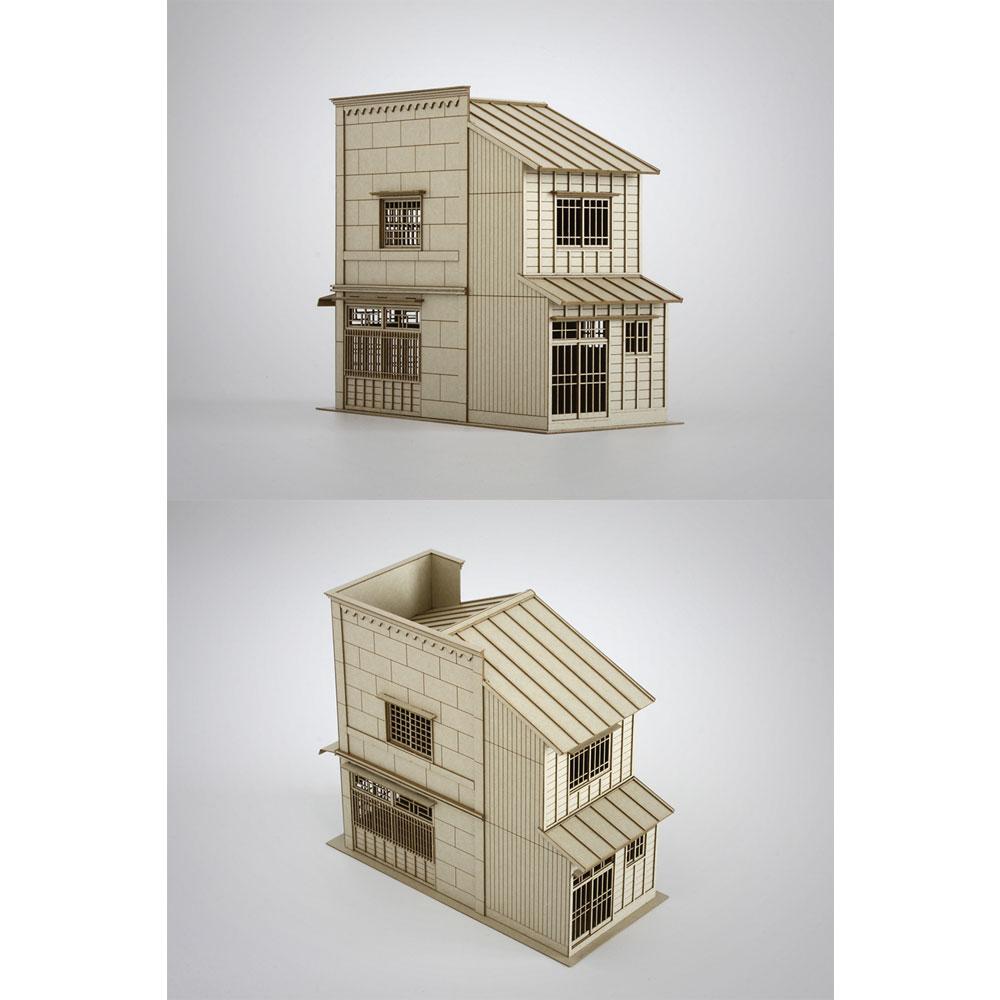 3軒続きの看板建築C :梅桜堂 HO(1/87) 未塗装キット ST-005-87U