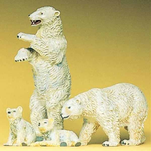 白熊(ホッキョクグマ) 4頭 :プライザー 塗装済完成品 HO(1/87) 20384