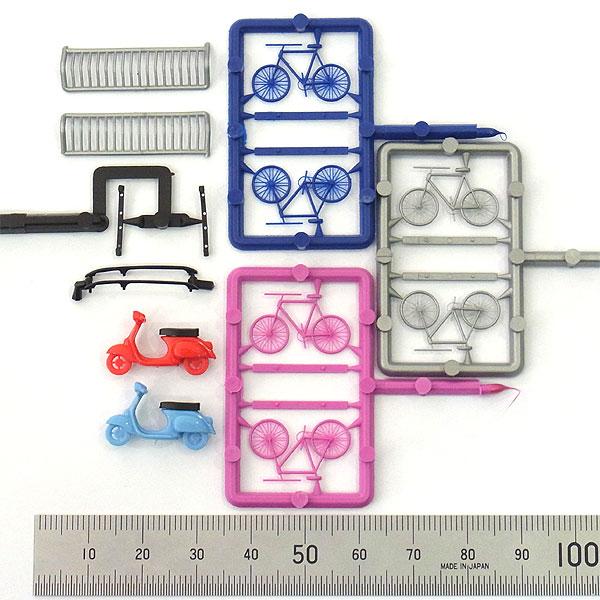 自転車とスクーター(べスパ)セット 輪止め、ルーフラック付き :ブッシュ キット HO(1/87) 6013