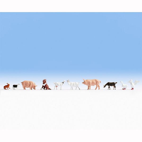 牧場の動物たち10匹セット(犬、猫、アヒル、うさぎ、山羊、豚など) :ノッホ 塗装済完成品 N(1/160) 36711