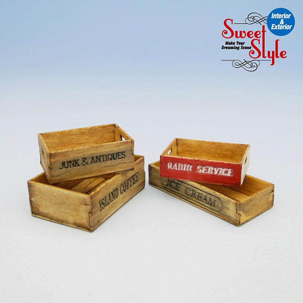 木箱セットD 4ヶ入り :コバーニ 未塗装キット 1/24 ss-013