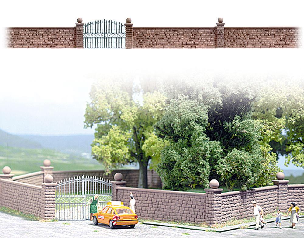 石塀と鉄門扉 :ブッシュ 未塗装キット HO(1/87) 6014
