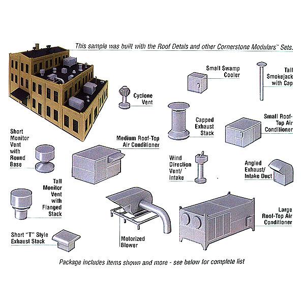 屋上の小物(排気口、換気ダクト、エアコン室外機など) :ウォルサーズ 未塗装キット HO(1/87) 3733