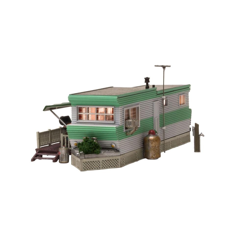 トレーラーハウス【LED付き】 :ウッドランド 塗装済完成品 N(1/160) BR4950