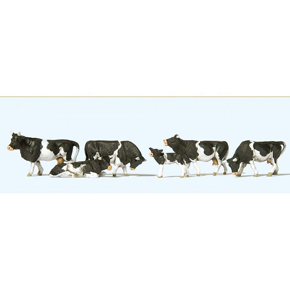 牛(白黒 ホルスタイン種) 6頭 :プライザー 塗装済完成品 HO(1/87) 10145