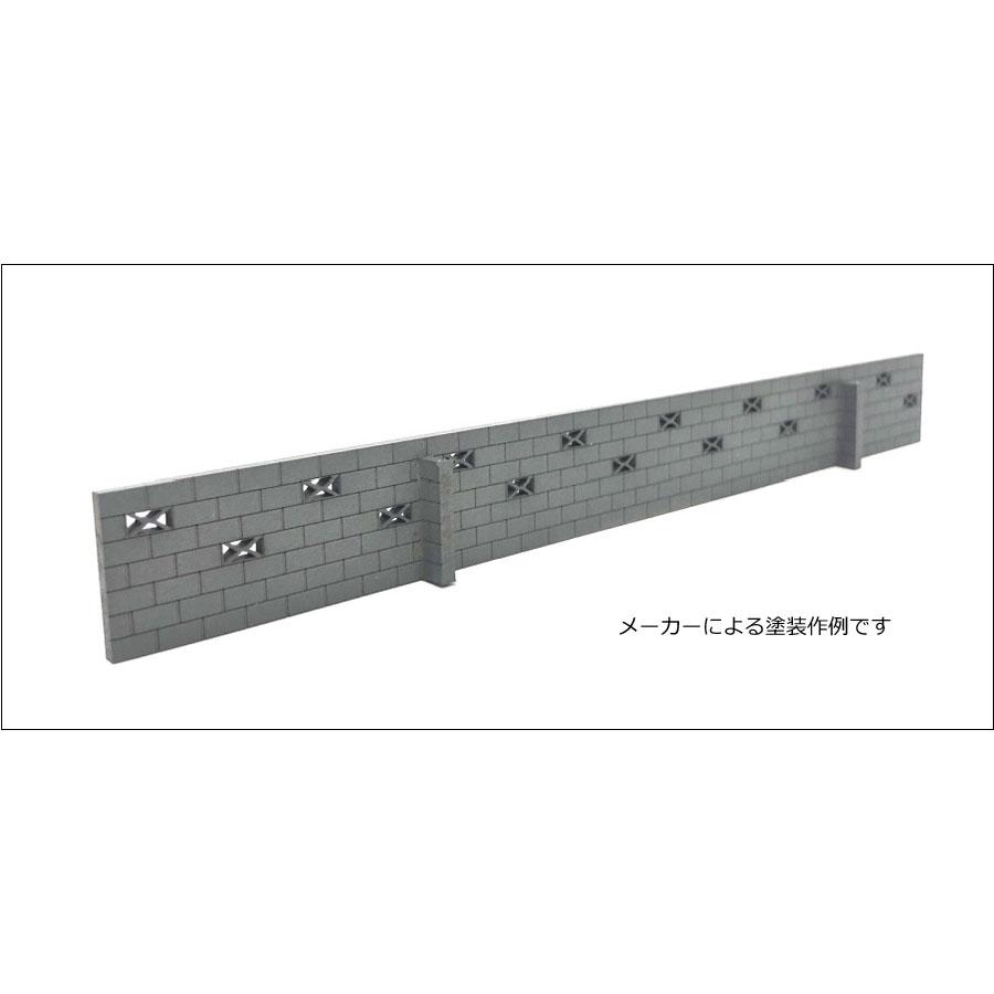 ブロック塀千鳥積み 穴ありキット 2個入り :ポポプロ 未塗装キット HO(1/80) MS-108