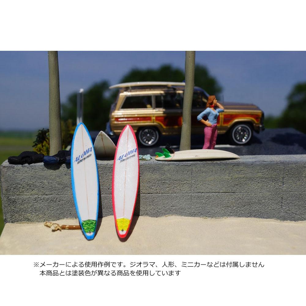 【模型】 42.サーフボードL A-白 ロング・ガンボードセット 2枚入 :グリーンアート 塗装済完成品 1/43 2006-LAW