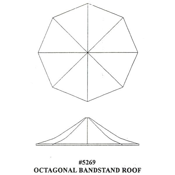 洋風屋根 八角形ステージ屋根 :グラントライン 未塗装キット HO(1/87) 5269