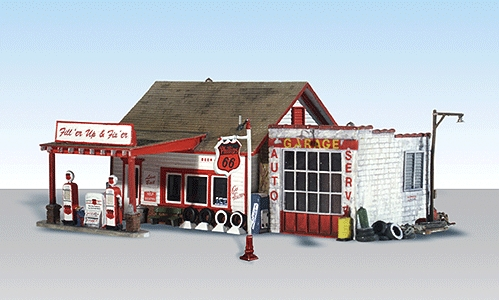 ガソリンスタンド、修理所【LED付き】 :ウッドランド 塗装済完成品 HO(1/87) 5025